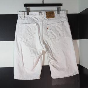 LEVI'S Vintage 550 Orange Tab White Jean Shorts 36